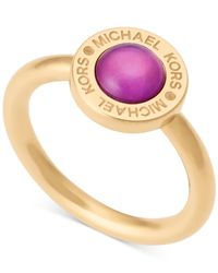 Michael Kors | Metallic Colored Imitation Mother Of Pearl Bezel-set Ring | Lyst