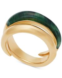 Michael Kors | Metallic Gold-tone And Green Bypass Ring | Lyst