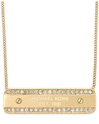 Michael Kors | Metallic Pave Crystal Logo-plate Necklace, First At Macy's | Lyst
