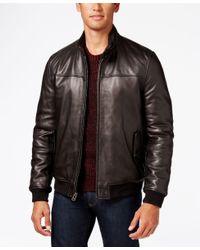Cole Haan | Black Men's Leather Bomber Jacket for Men | Lyst