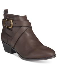 Style & Co. | Brown Harperr Strappy Booties, Only At Macy's | Lyst