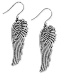 Lucky Brand | Metallic Silver-tone Feathered Wing Drop Earrings | Lyst