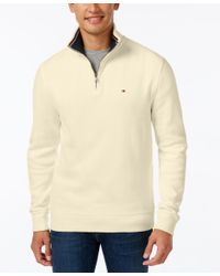 Tommy Hilfiger | Natural French Rib Quarter-zip Sweater for Men | Lyst