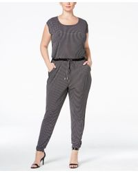 86655e03b0b8 Lyst - Michael Kors Michael Plus Size Printed Jogger Jumpsuit in Black