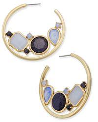 kate spade new york | Gold-tone Blue Stone Hoop Earrings | Lyst