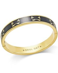 kate spade new york | Metallic Gold-tone Black Enamel Cool Cat Hinged Bangle Bracelet | Lyst