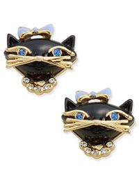 kate spade new york | Metallic Gold-tone Crystal And Enamel Black Cat Stud Earrings | Lyst