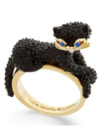 kate spade new york | Black Gold-tone Jet Pave Three-dimensional Cat Statement Ring | Lyst