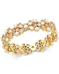 kate spade new york   Metallic Gold-tone Imitation Pearl And Crystal Hinged Bangle Bracelet   Lyst