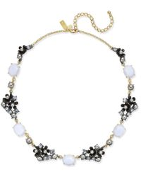 kate spade new york | Blue Two-tone Imitation Pearl And Stone Flower Collar Necklace | Lyst