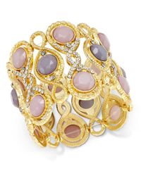 INC International Concepts - Metallic Gold-tone Pink And Gray Stone Filigree Stretch Bracelet, Only At Macy's - Lyst