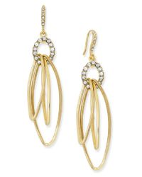 INC International Concepts | Metallic Gold-tone Pave Triple Loop Drop Earrings, Only At Macy's | Lyst