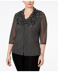 INC International Concepts | Black Plus Size Ruffled Polka-dot Blouse, Only At Macy's | Lyst