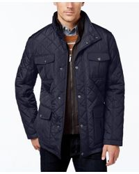 London Fog | Blue Men's Corduroy-trim Layered Quilted Jacket for Men | Lyst