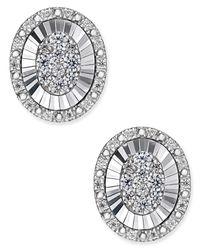 Macy's | Metallic Diamond Cluster Stud Earrings In 14k White Gold (1-1/2 Ct. T.w.) | Lyst