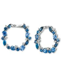 Le Vian | Blue Precious Collection Sapphire (3 Ct. T.w.) And Diamond (1/5 Ct. T.w.) Hoop Earrings In 14k Gold, Only At Macy's | Lyst