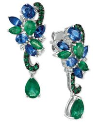 Le Vian | Green Sapphire (1-9/10 Ct. T.w.), Emerald (2-1/10 Ct. T.w.) And Diamond (1/5 Ct. T.w.) Earrings In 14k White Gold | Lyst