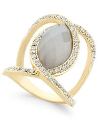 INC International Concepts Metallic Gold-tone Large Stone Openwork Statement Ring, Only At Macy's