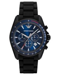 Emporio Armani | Men's Chronograph Sigma Black Silicone Wrapped Stainless Steel Bracelet Watch 44mm Ar6121 for Men | Lyst
