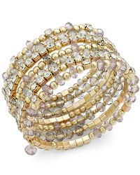 INC International Concepts | Metallic Gold-tone Mixed Bead And Stone Coil Bracelet | Lyst