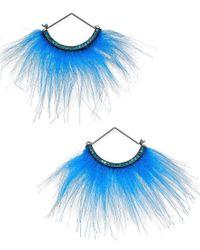 Betsey Johnson   Blue Xox Trolls Faux-fur Fan Earrings, Only At Macy's   Lyst