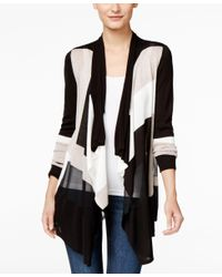 INC International Concepts | Black Colorblocked Waterfall Cardigan, Only At Macy's | Lyst