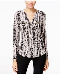 INC International Concepts | Black Printed Zip-pocket Blouse | Lyst
