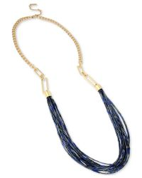 Kenneth Cole | Blue Gold-tone Long Multi-beaded Statement Necklace | Lyst