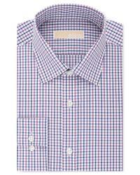 Michael Kors - Men's Classic-fit Non-iron Purple Check Dress Shirt for Men - Lyst