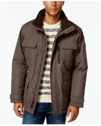 London Fog - Brown Big & Tall Military Puffer Coat for Men - Lyst
