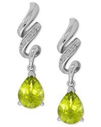Macy's | Green Peridot (2-1/2 Ct. T.w.) And Diamond Accent Twist Drop Earrings In Sterling Silver | Lyst