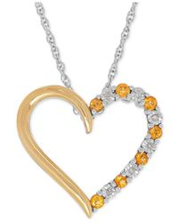 Macy's | Metallic Citrine (1/4 Ct. T.w.) And Diamond Accent Heart Pendant Necklace In Sterling Silver And 14k Gold | Lyst