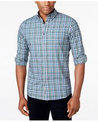 Michael Kors | Blue Men's Romeo Box-check Long-sleeve Shirt for Men | Lyst