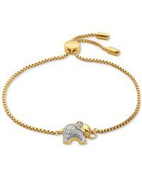 Macy's | Metallic Diamond Accent Elephant Slider Bracelet In 18k Gold Over Silver-plated Bronze | Lyst