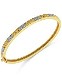 Macy's | Metallic Diamond Accent Textured Hinged Bangle Bracelet In Gold-plated Sterling Silver | Lyst