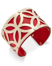 Charter Club - Red Gold-tone Filigree Leather-look Open Cuff Bracelet, Only At Macy's - Lyst