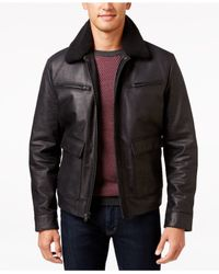 Michael Kors | Black Big & Tall Faux-sherpa Leather Jacket for Men | Lyst