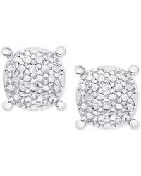 Macy's | Metallic Diamond Accent Pebble-look Round Stud Earrings In Sterling Silver | Lyst