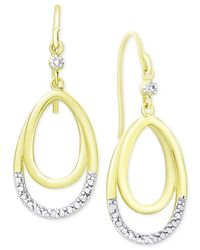 Macy's | Metallic Diamond Accent Double Loop Hoop Earrings In 18k Gold-plated Sterling Silver | Lyst
