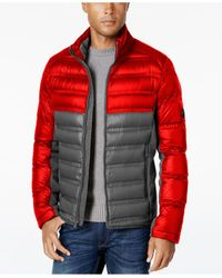 Michael Kors | Red Quilted Colorblocked Down Jacket for Men | Lyst