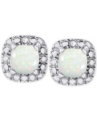 Macy's | Metallic Opal (1 Ct. T.w.) And Diamond Accent Stud Earrings In Sterling Silver | Lyst