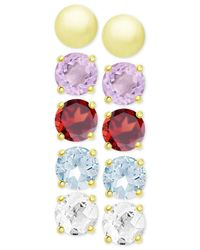 Macy's - 5-pc. Set Multi-gemstone And Metallic Round Stud Earrings In 18k Gold-plated Sterling Silver - Lyst