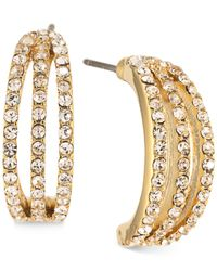 Carolee   Metallic Gold-tone Pavé Half-hoop Earrings   Lyst