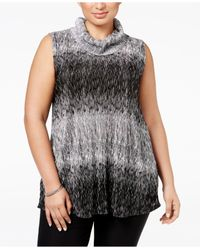 Alfani | Black Plus Size Textured Cowl-neck Top, Only At Macy's | Lyst