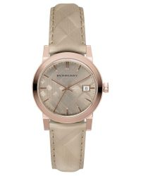 Burberry | Metallic Women's Swiss The Classic Round Trench Check-embossed Leather Strap Watch 34mm Bu9154 | Lyst
