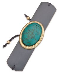INC International Concepts | Blue Gold-tone Turquoise-look Faux-leather Cuff Bracelet | Lyst