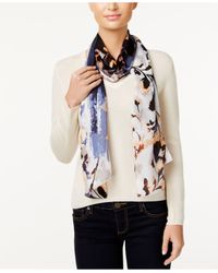 Vince Camuto | Multicolor Foliage And Blooms Silk Oblong Scarf | Lyst