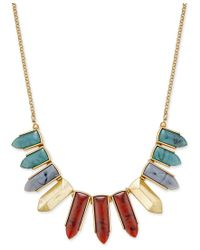 INC International Concepts | Metallic Gold-tone Multicolor Pointed Stone Bib Necklace, Only At Macy's | Lyst