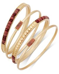 INC International Concepts   Red Gold-tone 4-pc. Brown Bead Bangle Bracelet Set, Only At Macy's   Lyst