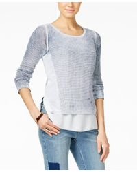INC International Concepts | Gray Acid-wash Layered-look Sweater, Only At Macy's | Lyst
